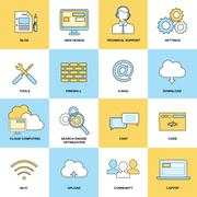 Web Flat Line Icons - stock illustration