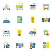Smart Home Icons Flat - stock illustration
