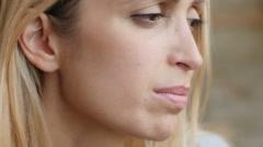 Closeup portrait of sad  woman: girl, pretty, beautiful, depressed, thoughtful   Stock Footage