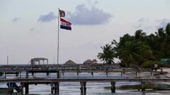 Belize & Cold Beer Flag - stock footage
