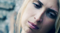 sad woman thinking something: sadness, loneliness, depression, depressed - stock footage