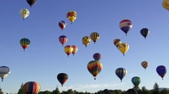 Dozens of Hot Air Balloons In the Sky Stock Footage