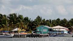 Boats & Houses on Caribbean Coast Stock Footage