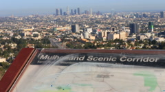 Los Angeles City View Mulholland Scenic Vista Stock Footage
