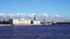 Saint Petersburg waterscape with Neva river embankment Stock Footage