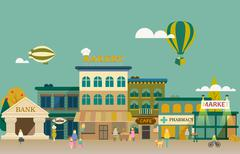 Set buildings of small business flat design - stock illustration