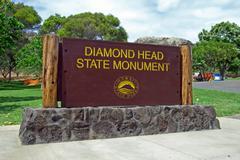 Diamond head state monument park sign close honolulu on oahu hawaii Stock Photos