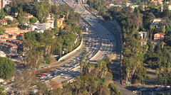 Aerial Los Angeles Highway Freeway Rush Hour Traffic Stock Footage