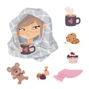 Kid Illness icons Stock Illustration