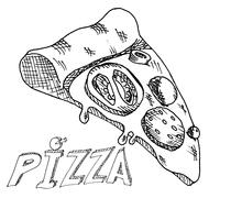Hand drawing pizza Stock Illustration
