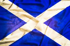 scotland grunge flag on a silk drape waving - stock photo