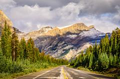 scenic view of the road on icefields parkway, canadian rockies - stock photo