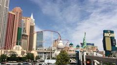 New York New York Casino on Main Strip of Vegas Stock Footage