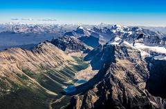 Mountain range view from mt temple, banff np, alberta, canada Stock Photos