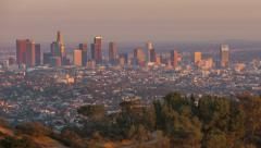 Sunrise Sunset Over Wide Los Angeles City Skyline Stock Footage