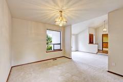 empty house interior with open floor - stock photo