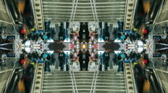 Mirror timelapse of commuters inside Roma Termini train station timelapse Stock Footage