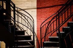 symmetrical staircases with two different colors - stock photo