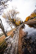 Autumn montreal lachine canal landscape Stock Photos