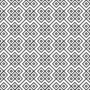 Black and white square geometric repeat pattern background Stock Illustration