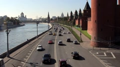 Kind to the Moscow Kremlin, Grand Kremlin Palace, Cathedrals and Moskva River  Stock Footage