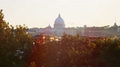 Sunset views of St. Peter's Basilica in Rome: Vatican, Christianity, 4k, pope Stock Footage