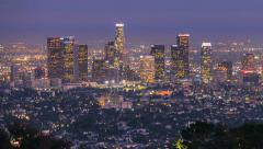 Los Angeles Sunrise Sunset Night City Skyline Timelapse Stock Footage