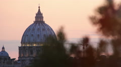 sunset views of St. Peter's Basilica in Rome: Vatican, Christianity, 4k, pope - stock footage