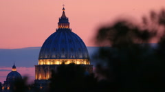 sunset views of St. Peter's Basilica in Rome: Vatican, Christianity, faith, pope - stock footage