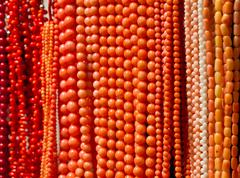 handmade coralline beads - stock photo