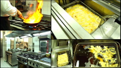Chicken nuggets fried in kitchen  french fried ,multi screen Stock Footage
