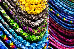 handmade colorful necklaces - stock photo