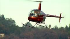 Robinson R-22 Helicopter Hover Stock Footage