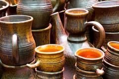 handmade ceramics - stock photo