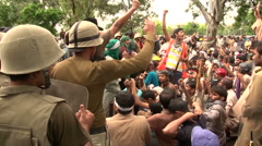 Army Soldiers calm enraged Mob in Islamabad, Pakistan - stock footage
