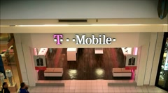 T Mobile storefront mall Stock Footage