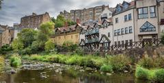 The water of leith walk and houses in Edinburgh - stock photo