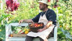 Man with fresh vegetables - stock footage