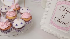 Table with different cakes. Close up. Dolly shot. Stock Footage