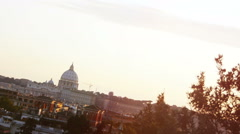 sunset on Rome: St Peter dome, monuments, Roma, summer - stock footage