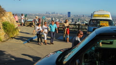 Timelapse Los Angeles Sightseeing Tour Buses at City Vista Stock Footage