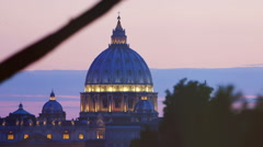 Sunset views of St. Peter's Basilica in Rome: Vatican, Christianity, faith, pope Stock Footage