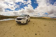 Stock Photo of desert landscape car
