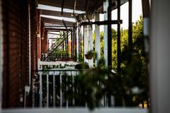 balcony perspective in the poor trois-riviere area - stock photo