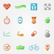 Bright fitness icons set Stock Illustration