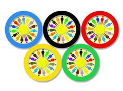 olympic rings on the white - stock illustration