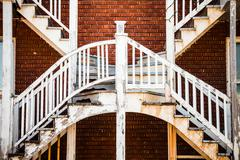 symmetrical staircases in the poor trois-riviere area - stock photo