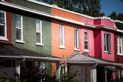 colorful houses in the poor trois-riviere area - stock photo