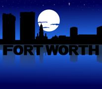 Fort worth skyline reflected with text and moon illustration Stock Illustration