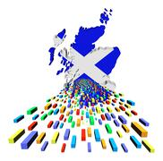 Stock Illustration of scotland map flag with containers illustration